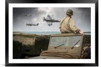 American GI on Normandy beach watches Spitfires, Framed Mounted Print