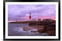 Portland Bill lighthouse at sunset, Framed Mounted Print