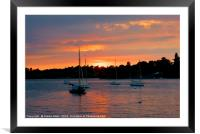 Sunset Over Water, Framed Mounted Print