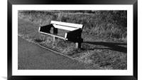 Wooden bench at Willen Lake, Framed Mounted Print