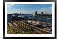 A view Amsterdam railway line, Framed Mounted Print