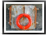 life buoy on a weathered wooden board with faded o, Framed Mounted Print