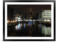 clarence dock in leeds at night , Framed Mounted Print