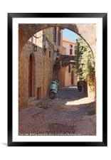 cobbled street in rhodes town, Framed Mounted Print