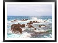 rocks and white waves, Framed Mounted Print