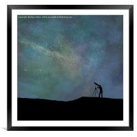 Viewing the vast night sky., Framed Mounted Print