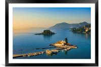 Vlacherna Monastery Kanoni and Mouse islands, Corfu, Greece, Framed Mounted Print