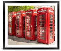 Four red telephone boxes in London, Framed Mounted Print