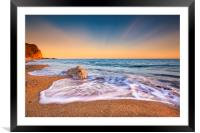 Serene South Dorset Beach and Sea at Sunset , Framed Mounted Print