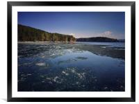 Spring landscape with ice drift on the lake.  , Framed Mounted Print