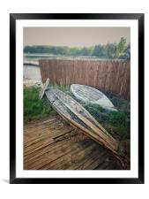 Rowing boats on the Lake Uvildy, Framed Mounted Print