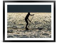 Paddle Boarder at Newgale, Pembrokeshire., Framed Mounted Print