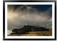 Llanddwyn Tower with Stormy Sky., Framed Mounted Print