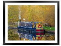 Canal Boat in Winter., Framed Mounted Print