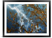 lake water reflection of a thunderbolt, Framed Mounted Print