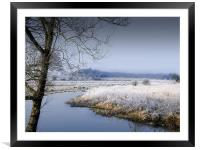 Frosty Morning by the River Wensum Norfolk, Framed Mounted Print