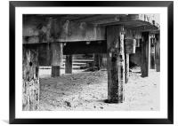 The old Wooden Ramp to Cart Gap Beach Norfolk, Framed Mounted Print