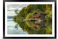 Pooley Bridge Boat House on Ullwater, Framed Mounted Print