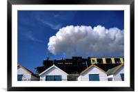 Steam Train over the Beach Huts, Framed Mounted Print
