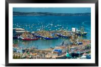 Brixham Harbour after the Trawler Race, Framed Mounted Print