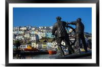 The Man and Boy Statue in Brixham                 , Framed Mounted Print