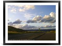 Evening sunlit clouds over Glossop , Framed Mounted Print