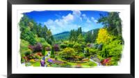 Butchart Gardens Painterly, Framed Mounted Print