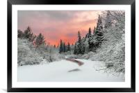 Evening sky over a frozen forest river, Framed Mounted Print