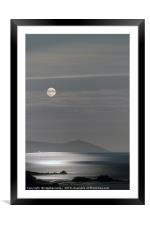 Harvest Moon rises over the Rame Head peninsula, Framed Mounted Print