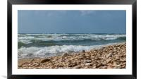 ocean and sea waves at the beach, Framed Mounted Print