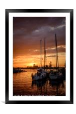 sunset in the harbor of de veenhoop in holland, Framed Mounted Print