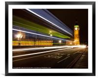 Night Bus on Westminster Bridge, Framed Mounted Print