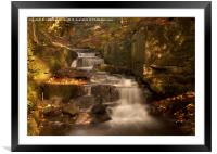 Lumsdale Valley Waterfall, Framed Mounted Print