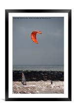A kite surfer and wind surfer, Framed Mounted Print