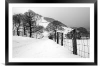 Reservoir Road, Cwmtillery during heavy snowfall., Framed Mounted Print