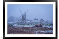 Winter Reed Making Cley Norfolk, Framed Mounted Print