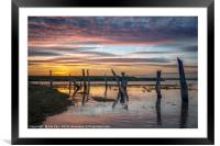 The Mysterious Stumps at Sunset, Framed Mounted Print