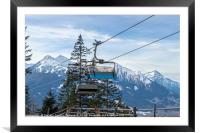 Ski lift with the snowy mountain in the background, Framed Mounted Print