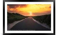 Road through dunes and grass at sunrise, Framed Mounted Print