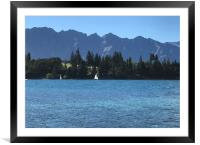 View over Lake Wakatipu from Queenstown, New Zeala, Framed Mounted Print
