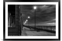 Beach Huts at sunset in Black and White, Framed Mounted Print