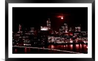 London by night with full moon, Framed Mounted Print