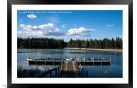 Boats by a pier, Framed Mounted Print