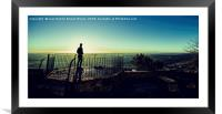 Silhouette of young boy watching sunrise, Framed Mounted Print