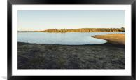 Sunny lake with eucalyptus mountain in the backgro, Framed Mounted Print