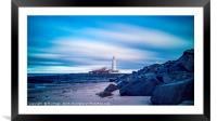 St Mary's Lighthouse at Whitley Bay, Framed Mounted Print