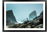 Bedruthan Steps on a foggy day, Framed Mounted Print