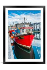 Red Fishing Boat in Plymouth, Framed Mounted Print