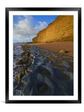 Golden cliff reflections, Framed Mounted Print