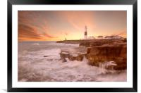 Portland Bill Sunset, Framed Mounted Print